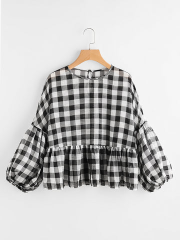 Women's Buttoned Keyhole Lantern Sleeve Semi Sheer Gingham Smock Top