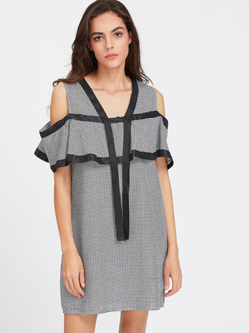 Women's Satin Trim Cold Shoulder Flounce Checkered Dress