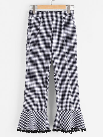 Women's Side Zip Pom Pom Flare Hem Checkered Pants