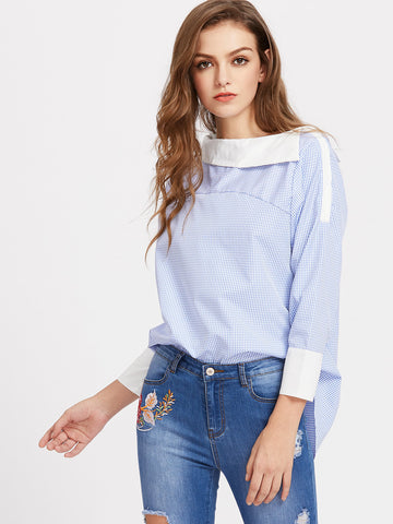 Women's Fold Over Neckline Gingham Dip Hem Top