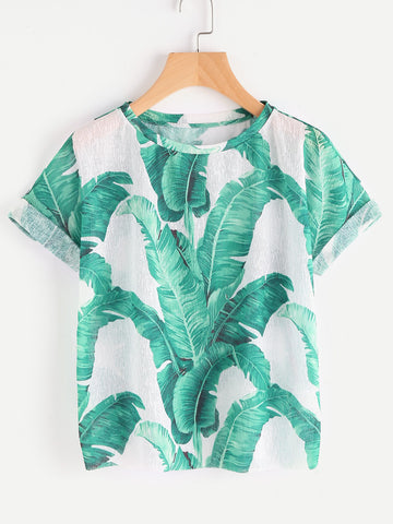 Women's Jungle Leaf Print Cuffed Sleeve T-shirt