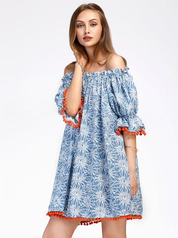 Women's Bardot Floral Print Pom Pom Trim Dress