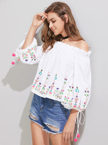 Women's Bardot Frill Trim Embroidered Pom Pom Tie Cuff Top