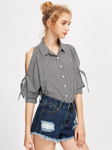 Women's Knotted Split Dolman Sleeve Gingham Shirt