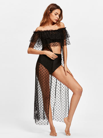 Women's Flounce Tiered Star Mesh Cover Up