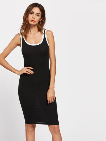 Women's Contrast Trim Skinny Tank Dress