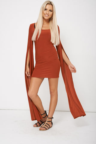 Women's Draped Sleeves Bodycon Dress