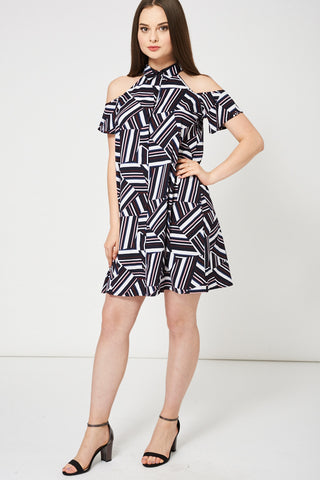 Women's Abstract Pattern Cold Shoulder Swing Dress