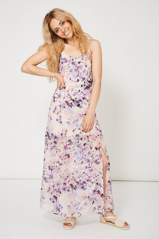 Women's Floral Pattern Split Front Maxi Dress