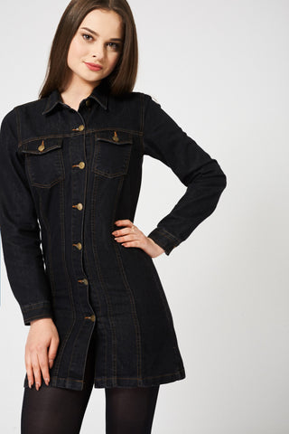 Women's Long Sleeve Denim Shirt Dress