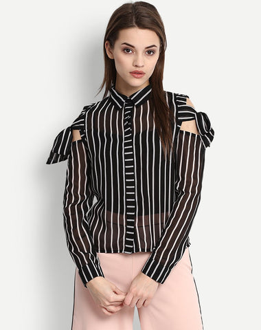 Women's Striped Cold Shoulder Shirt