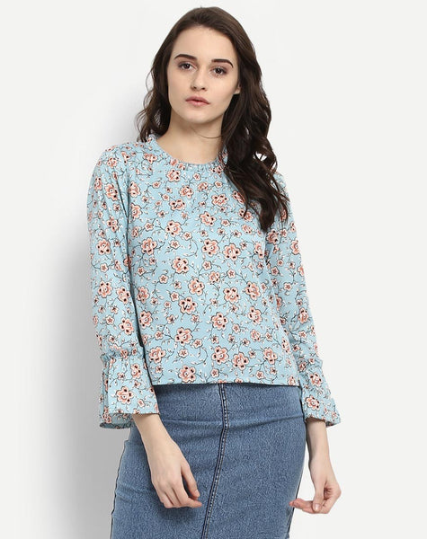 Women's Floral Bell Sleeve Blouse