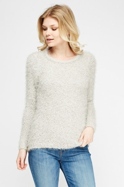 Women's Bobble Knit Eyelash Jumper