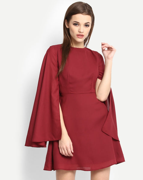 Women's Bouquet Cape Skater Dress