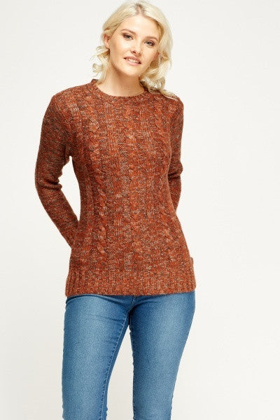 Women's Cable Knit Speckled Casual Jumper