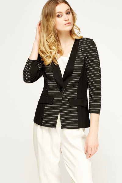 Women's Contrast Trim Striped Blazer