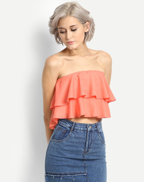 Women's Bridgette Ruffles Off Shoulder Crop Top
