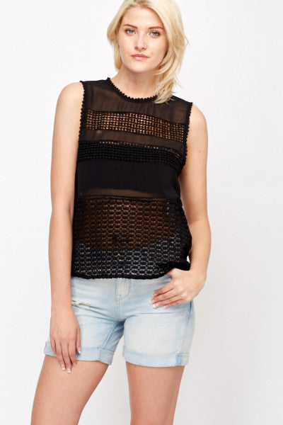 Women's Crochet Bobble Insert Sheer Top