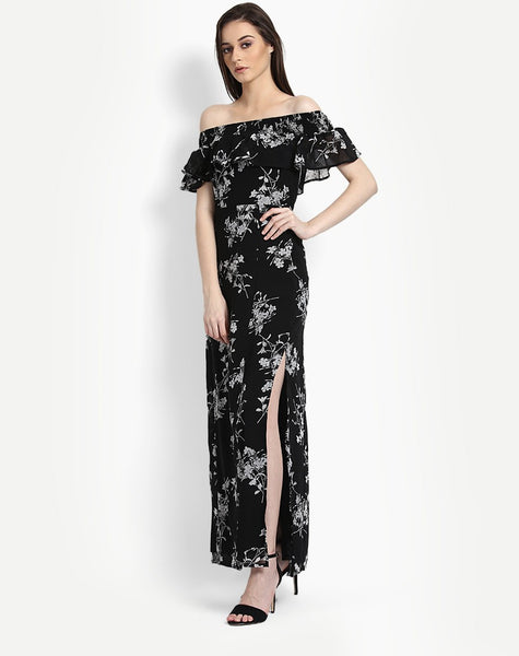 Women's Floral Malibu Ruffle Off Shoulder Maxi Dress