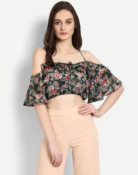 Women's Floral Manie Cold Shoulder Crop Top