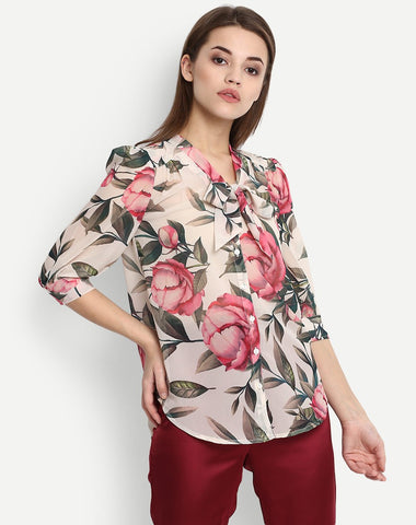Women's Floral Elbow Sleeve Blouse