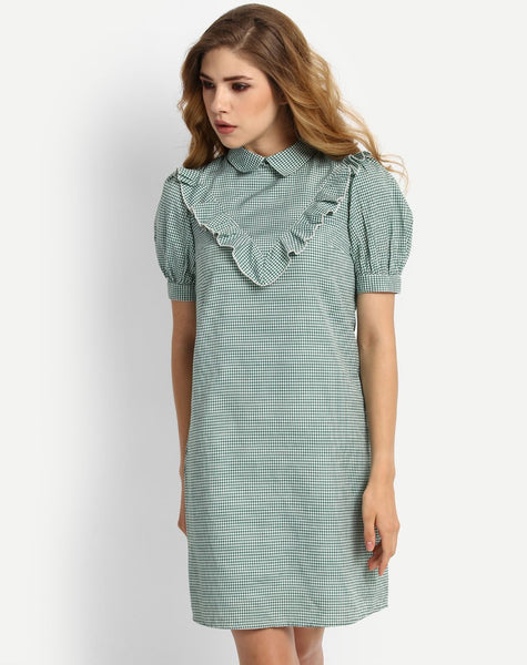 Women's Gingham Aisha Ruffles Frill Shift Dress