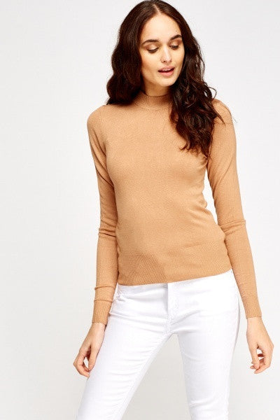Women's High Neck Knitted Tops