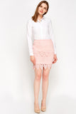 Women's Mesh Overlay Mini Skirt