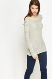 Women's Metallic Loose Knit Encrusted Front Jumper