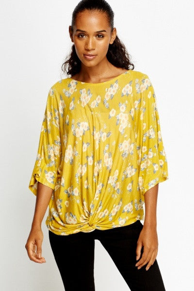 Women's Print Twist Knot Blouse Top