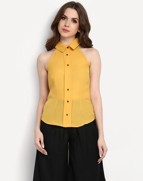 Women's Collared Sleeveless Blouse Shirt