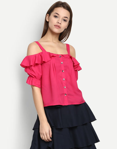 Women's Parrish Cold Shoulder Ruffles Top