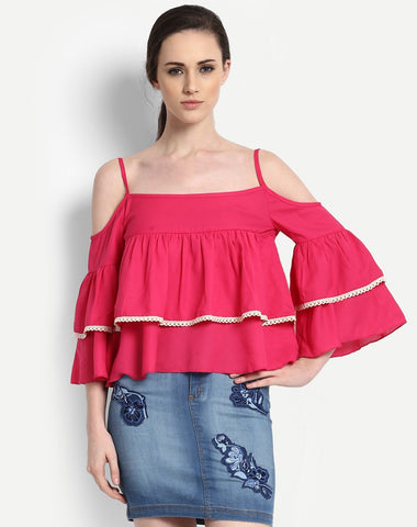 Women's Tier Cold Shoulder Tops