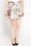Women's Printed Mesh Overlay Mini Skirt