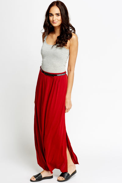 Women's Long Split Belted Maxi Skirt