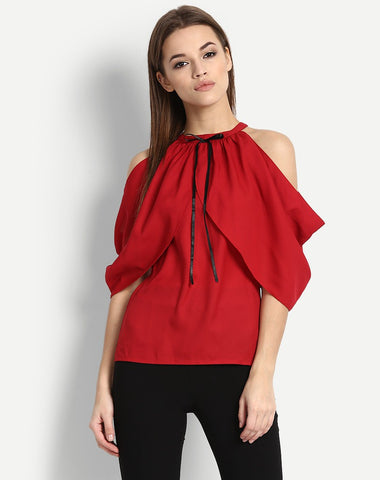 Women's Cold Shoulder Draped Sleeve Top