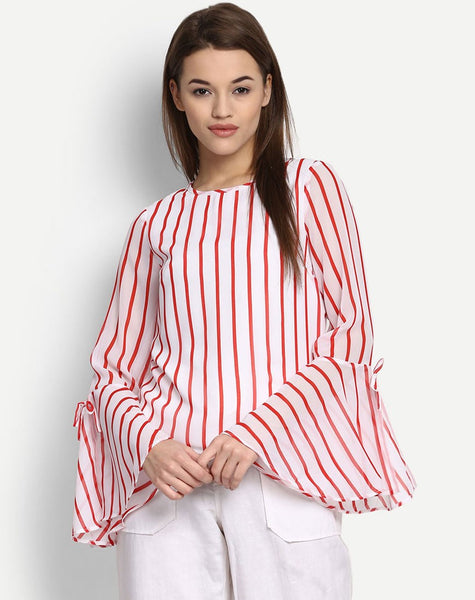 Women's Stripe Belia Bell Sleeves Blouse