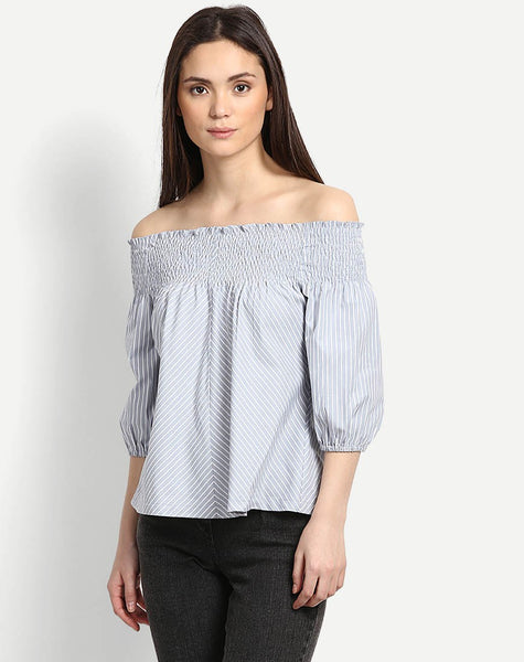 Women's Striped Abbie Off Shoulder Top