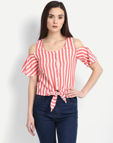 Women's Striped Collene Cold Shoulder Top Blouse