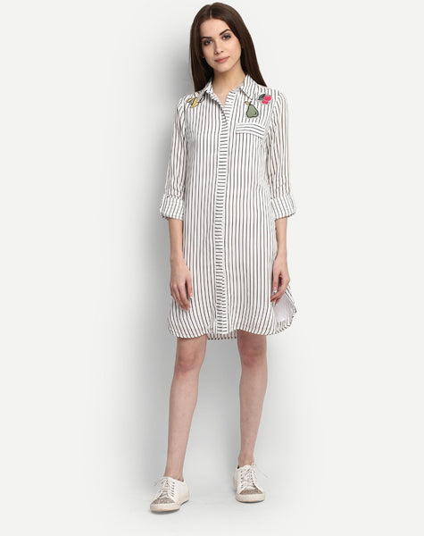 Women's Striped Oberone Embroidered Shirt Dress