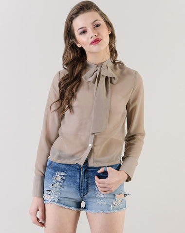 Women's Long Sleeve Collared Bow Shirt