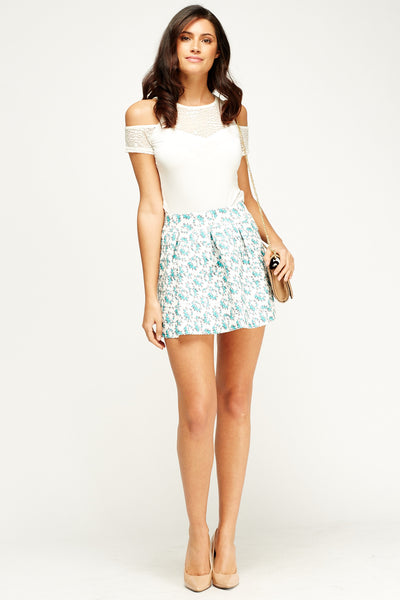Women's Textured Printed Box Pleated Skirt