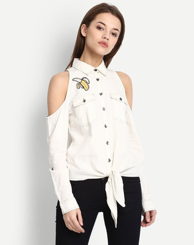 Women's Cold Shoulder Embroidered Shirt