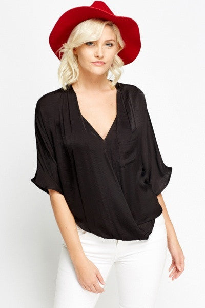 Women's Wrap Front Short Sleeve Blouses