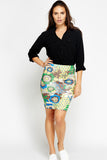 Women's Printed Elastic Waist Body Con Skirt