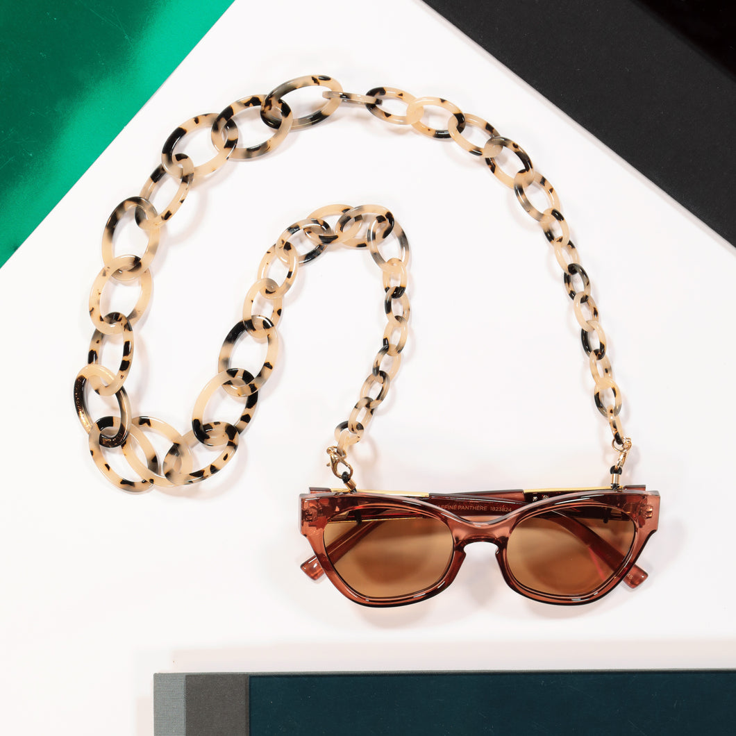 Glasses chain 'biarritz' - light tortoise