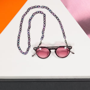 glasses chain acetate - purple tortoise