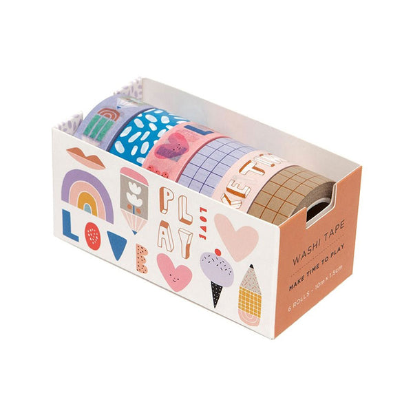 6 Washi tapes «Make time to play» von Petit Monkey