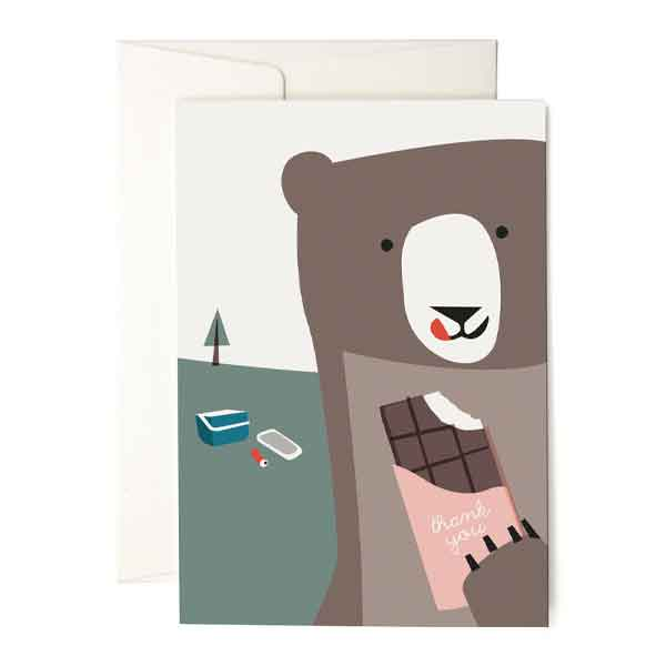Karte «Bear with Chocolate» von Pleased to meet