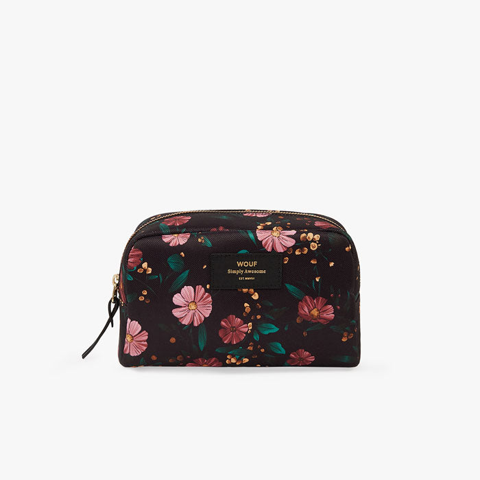 Beauty Pouch «Black Flowers» gross von Wouf